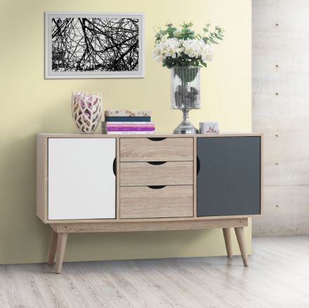 Alford 2 Sideboard with 2 Doors & 3 Drawers Oak / Grey